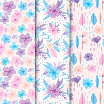 Colección de motivos florales de acuarela abstracta