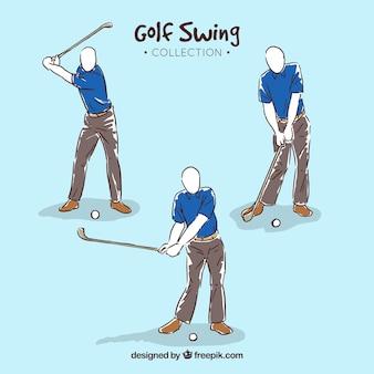 Colección de movimientos de golf en estilo hecho a mano