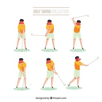 Colección de movimientos de golf con hombre en estilo plano