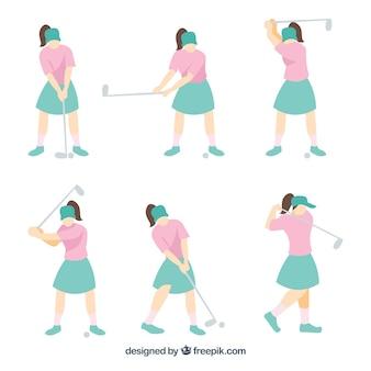 Colección de movimientos de golf con mujer en estilo plano