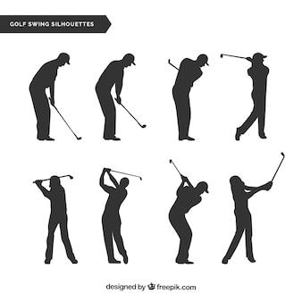 Colección de movimientos de golf con silueta