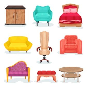 Colección de muebles, elementos interiores para oficina u hogar ilustraciones sobre un fondo blanco.