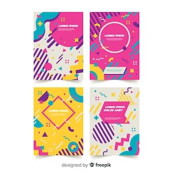 Colección muestras de folletos estilo memphis