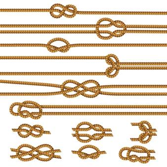 Colección de muestras de nudos de cuerdas útiles