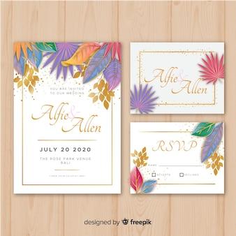 Colección muestras papelería floral boda