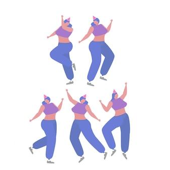 Colección de mujer bailando y divirtiéndose en una fiesta de cumpleaños