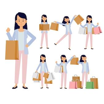 Colección de mujer llevando bolsas de compras. tienda, centro comercial. personajes de dibujos animados aislados sobre fondo blanco. ilustración plana