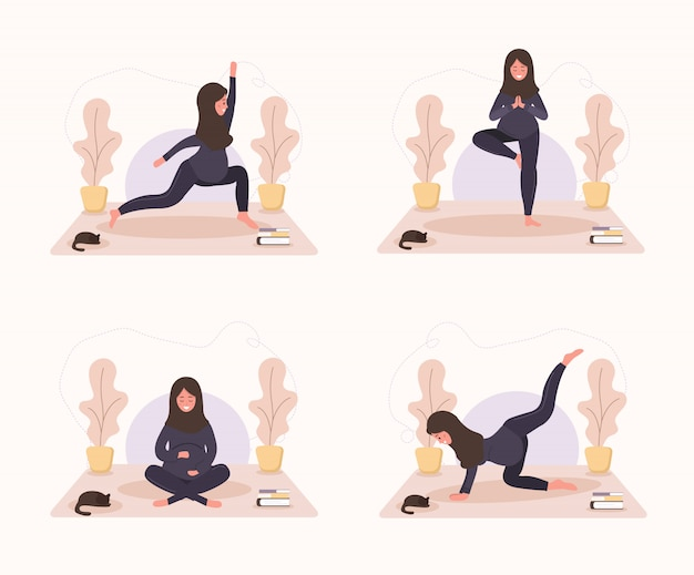 Colección mujeres embarazadas árabes haciendo yoga, tener un estilo de vida saludable y relajación. paquete de ejercicios para niñas. ilustración moderna de estilo plano. concepto de embarazo feliz sobre fondo blanco.