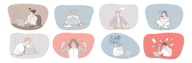 Colección de mujeres de hombres de negocios deprimidos frustrados con exceso de trabajo en la oficina con crisis nerviosa.
