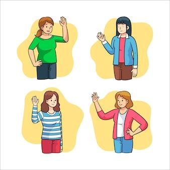 Colección de mujeres jóvenes agitando la mano