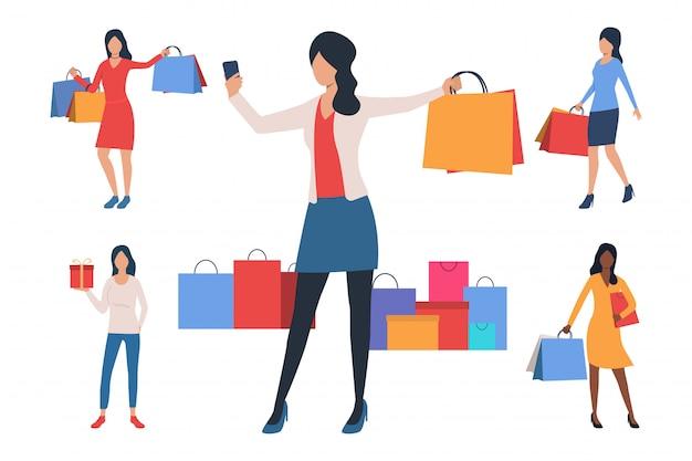 Colección de mujeres jóvenes con bolsas de la compra.