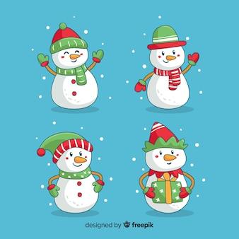 Colección de muñecos de nieve adorables de navidad dibujados a mano