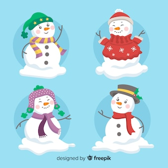 Colección de muñecos de nieve de navidad en diseño plano
