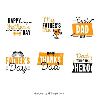 Colección naranja de etiquetas para el día del padre