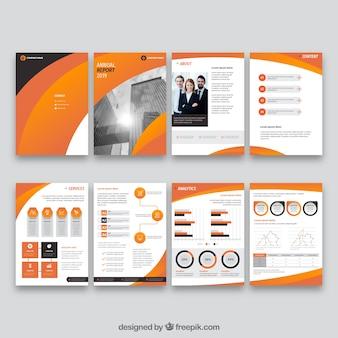 Colección naranja de plantillas de reporte anual
