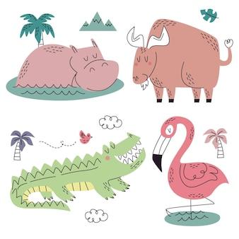 Colección naturaleza doodle dibujados a mano
