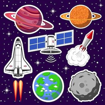 Colección de naves espaciales y planetas, tema espacial.