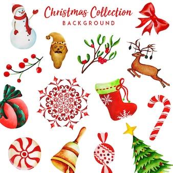 Colección de navidad en acuarela