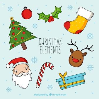 Colección de navidad dibujada a mano