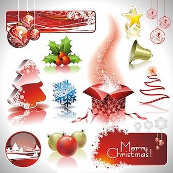 Colección de navidad con elementos 3d.