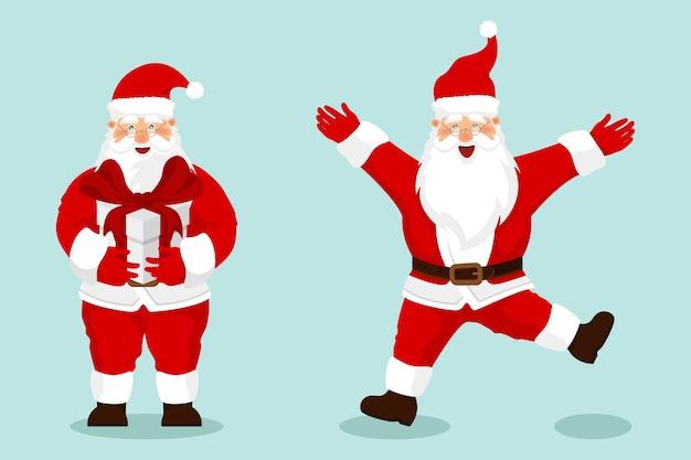 Colección de navidad santa claus con regalo