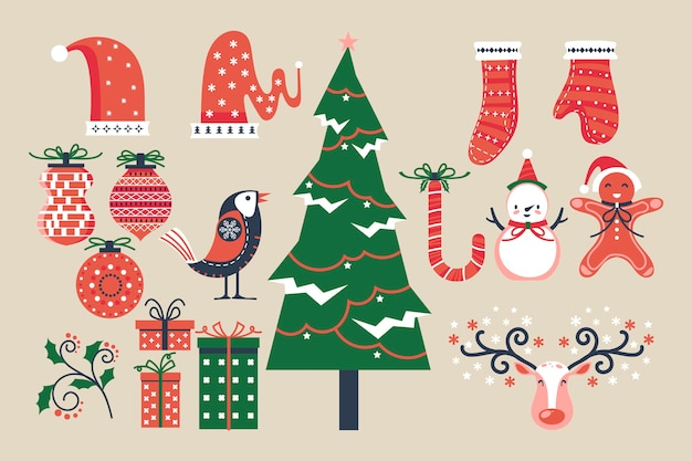 Colección navideña de elementos decorativos de invierno.