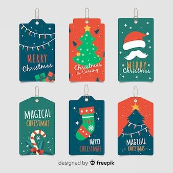 Colección navideña de elementos de etiqueta de diseño con asa