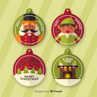 Colección navideña de elementos de etiqueta de diseño