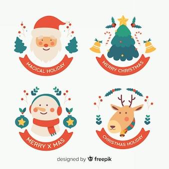 Colección navideña de elementos de insignia de diseño
