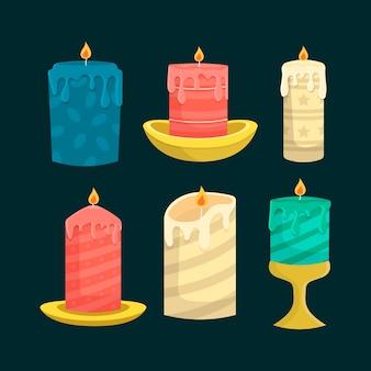 Colección navideña de velas dibujadas a mano