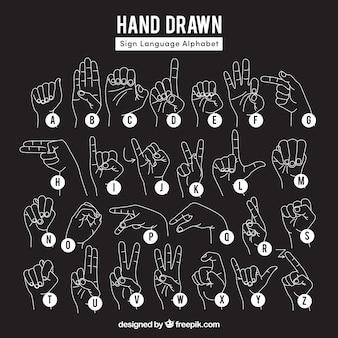 Colección negra de gestos de mano