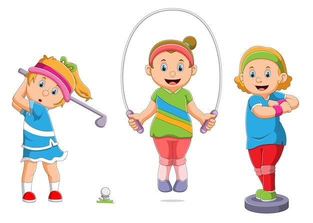 La colección de la niña está haciendo deporte con los diferentes tipos de ilustración.