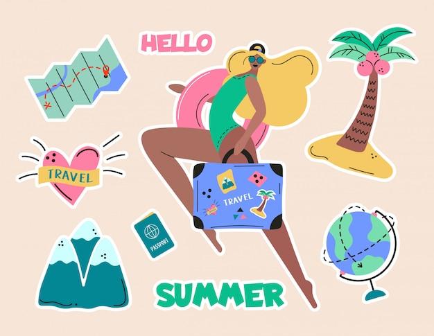 Colección de niña, turismo de aventura, viajes al extranjero, viaje de vacaciones de verano, senderismo y mochilero elementos de diseño decorativo aislados sobre fondo blanco. ilustración colorida de dibujos animados plana