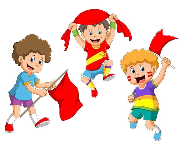 La colección del niño celebra y muestra el apoyo de la ilustración.