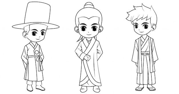 Colección de niño de dibujos animados con traje chino coreano y japonés utilizado para colorear libro