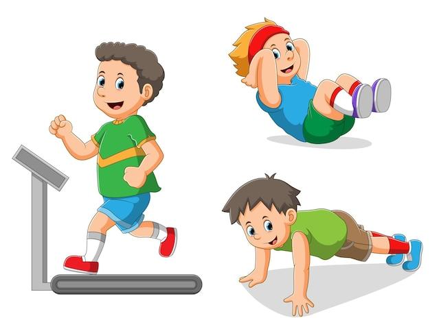 La colección del niño haciendo los diferentes deportes de la ilustración.