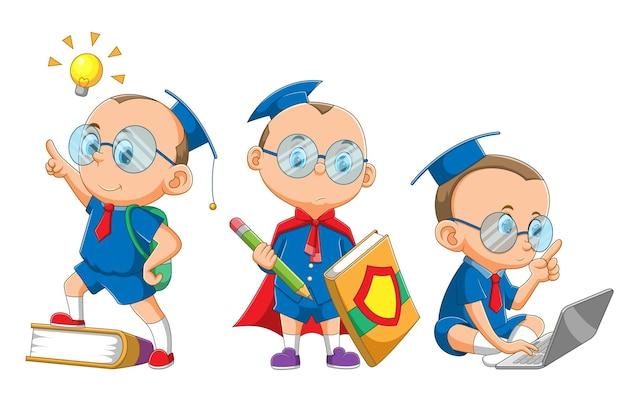 La colección del niño inteligente con el disfraz de soltero captando las ideas de la ilustración