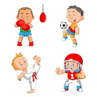 La colección de niño jugando varios deportes de ilustración.