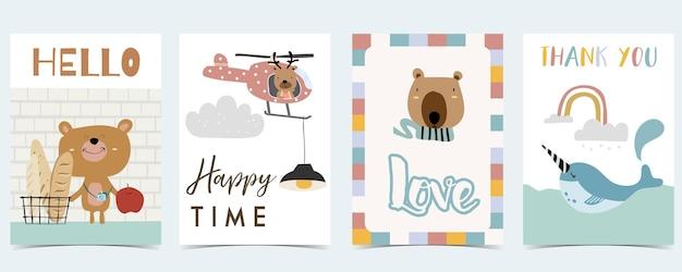 Colección, de, niño, postal, conjunto, con, arco irirs, oso, narwhal., editable, vector, ilustración, para, sitio web, invitación, postal, y, etiqueta