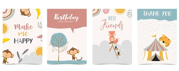 Colección, de, niño, postal, conjunto, con, oso, arco iris, sol., editable, vector, ilustración, para, sitio web, invitación, postal, y, etiqueta