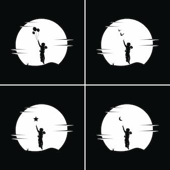 Colección de niños alcanzan sueños con fondo de luna.