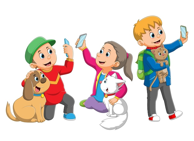 La colección de los niños se autofoto con los animales de la ilustración