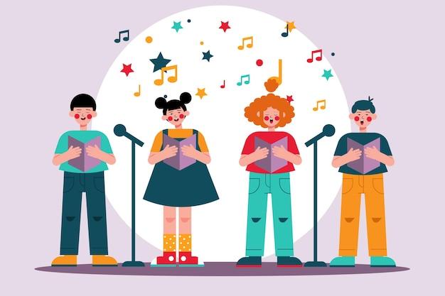 Colección de niños cantando en un coro.