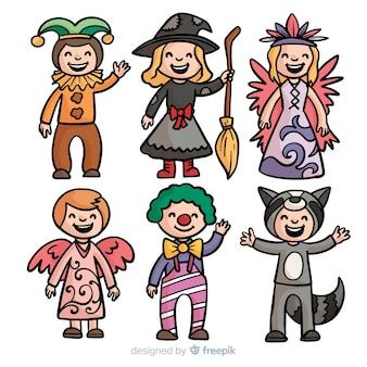 Colección niños disfraces carnaval dibujados a mano