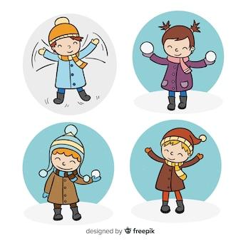 Colección niños escenas invernales