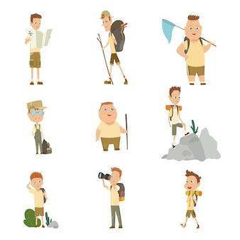 Colección de niños exploradores acampando