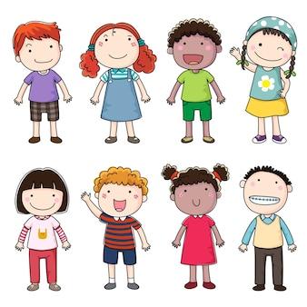 Colección de niños felices aislado en blanco