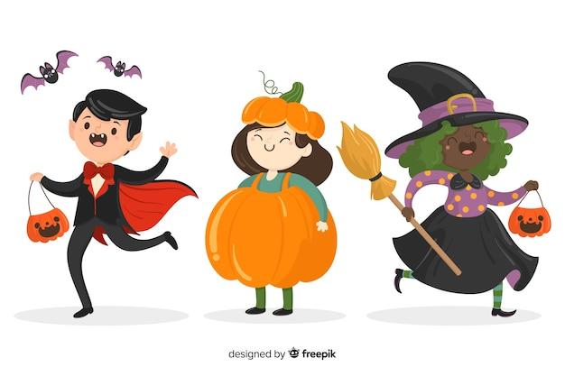 Colección de niños de halloween dibujados a mano sobre fondo blanco