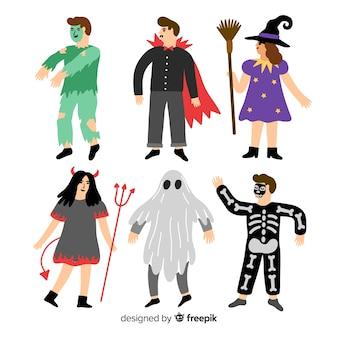 Colección de niños de halloween dibujados a mano