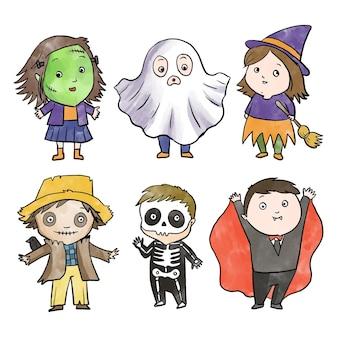 Colección de niños de halloween de diseño de acuarela